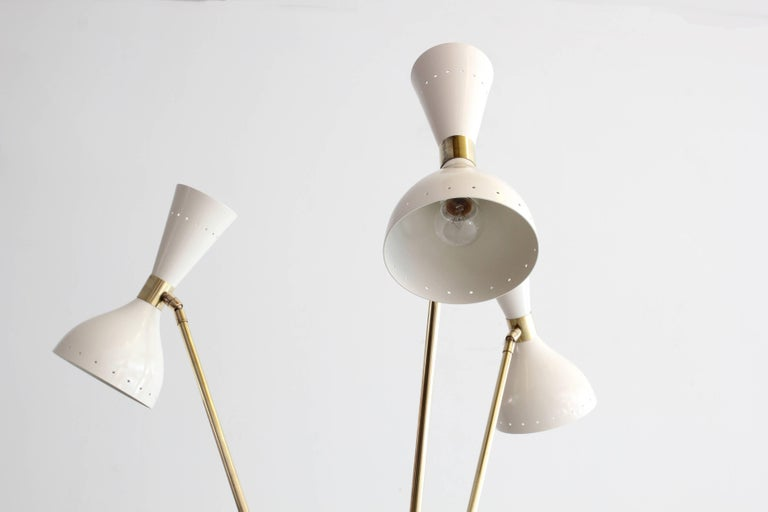 Contemporary Three-Light Tripod Stilnovo Style Floor Lamp For Sale