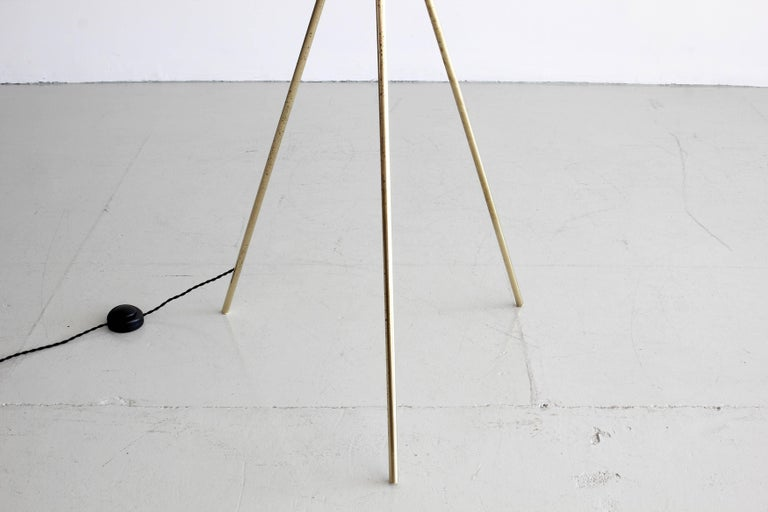 Brass Three-Light Tripod Stilnovo Style Floor Lamp For Sale