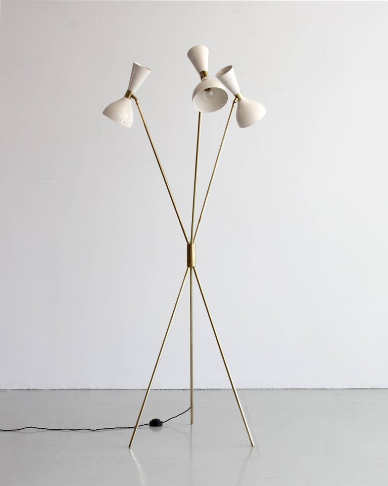 Italian Three-Light Tripod Stilnovo Style Floor Lamp For Sale