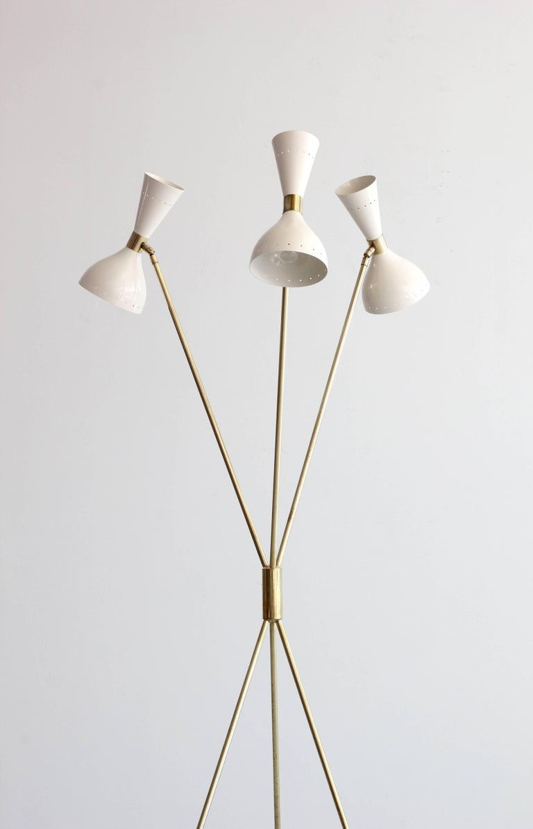 Three-Light Tripod Stilnovo Style Floor Lamp In Excellent Condition For Sale In Los Angeles, CA