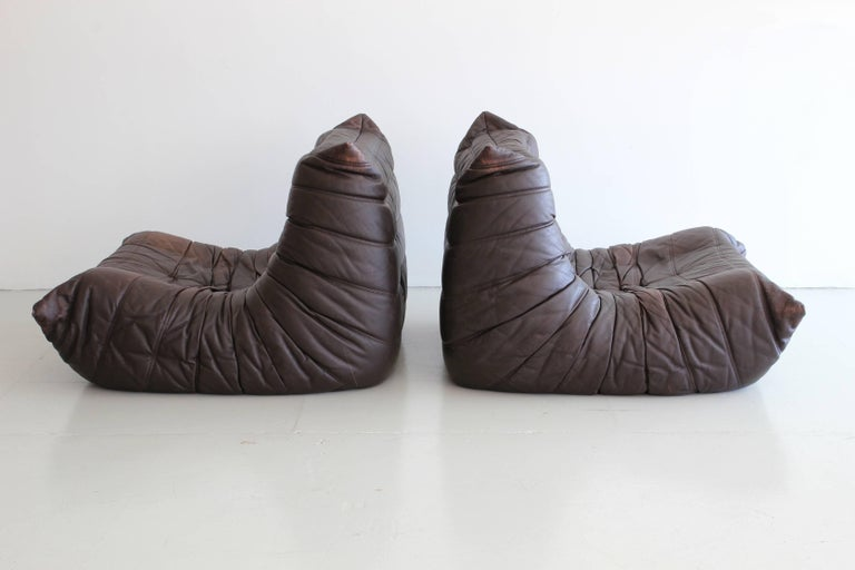 """Leather """"Togo"""" Lounge Chairs and Ottoman by Michel Ducaroy For Sale"""