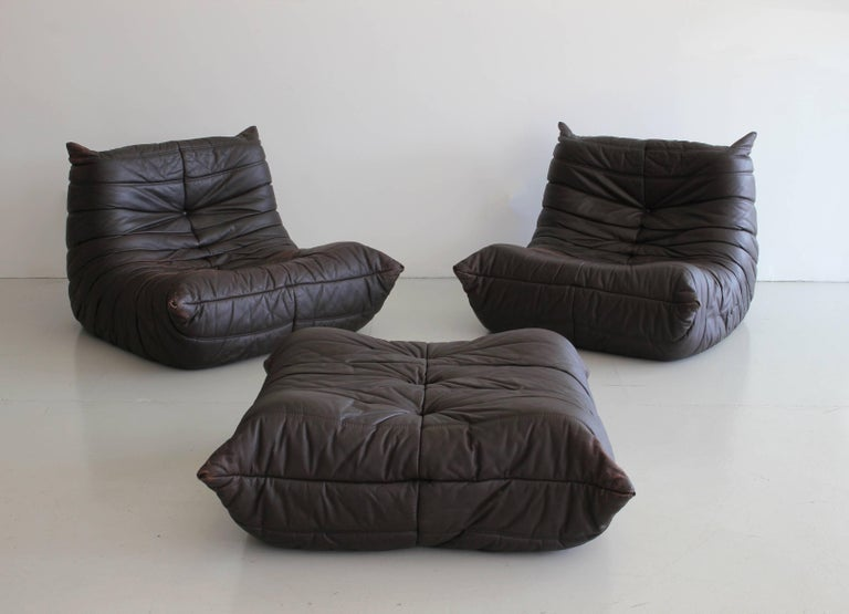"""""""Togo"""" Lounge Chairs and Ottoman by Michel Ducaroy In Good Condition For Sale In Los Angeles, CA"""