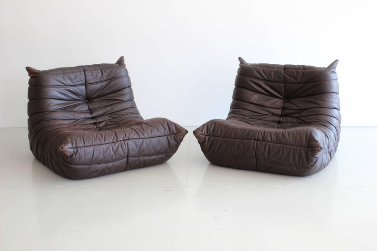 """Italian """"Togo"""" Lounge Chairs and Ottoman by Michel Ducaroy For Sale"""