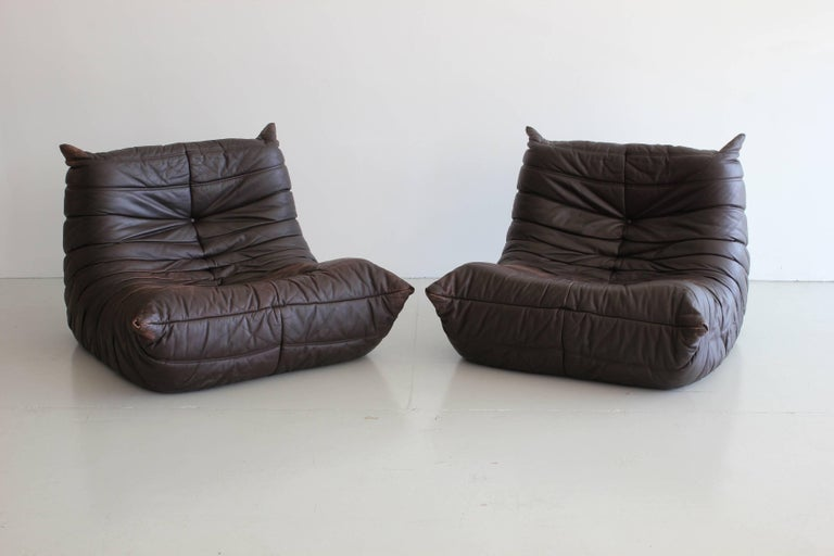 """Late 20th Century """"Togo"""" Lounge Chairs and Ottoman by Michel Ducaroy For Sale"""