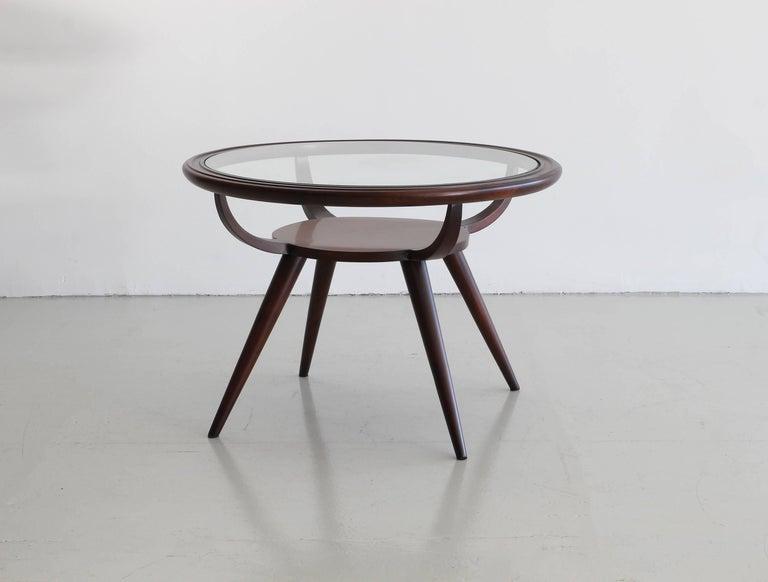 Simple mahogany Italian side table with wonderful lines.