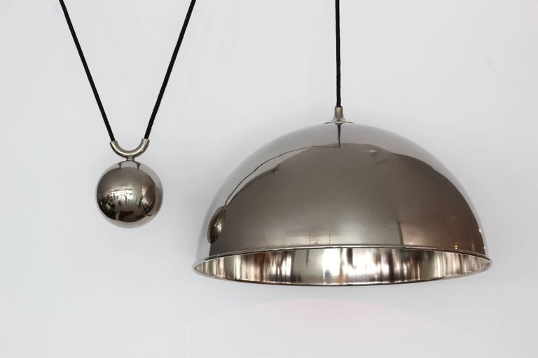 Fantastic vintage nickel dome counter balance pendant by Florian Schulz. Nickel dome canopy and ball counter-weight and dome. Excellent vintage condition. Overall height is adjustable.