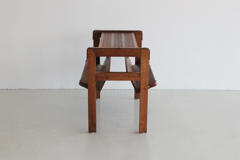 French Wood and Leather Side Table by Jacques Adnet For Sale
