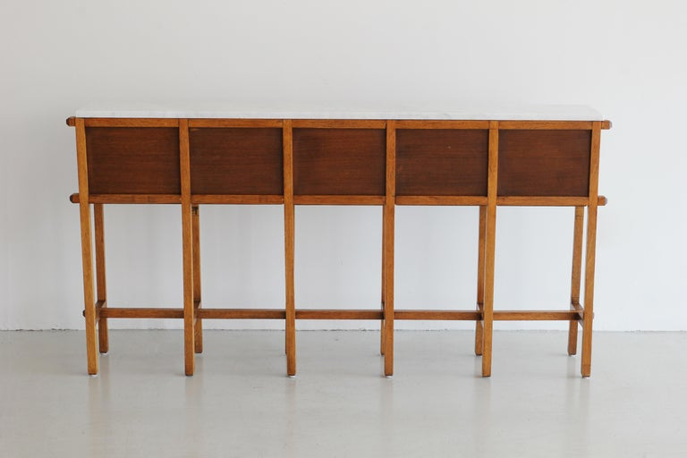 French Oak and Carrara Marble Console In Good Condition For Sale In Los Angeles, CA