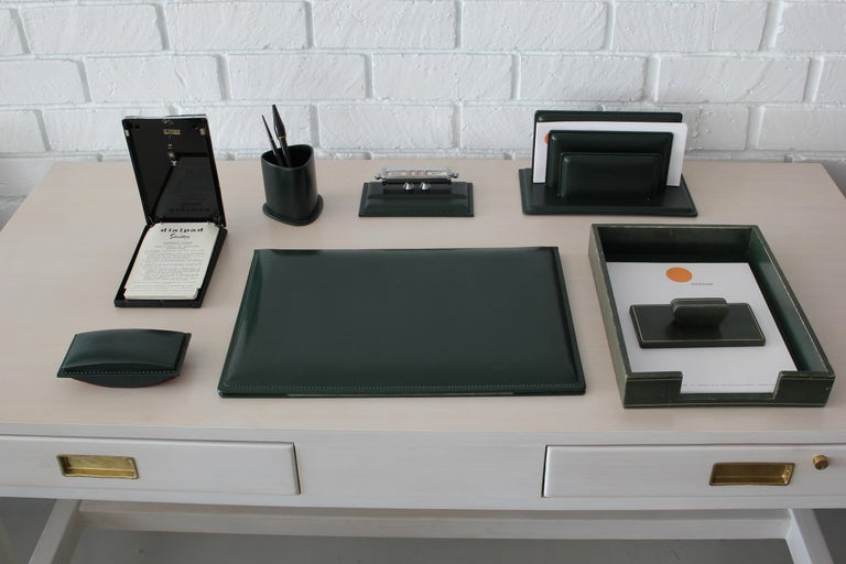 French Leather Desk Set In Good Condition For Sale In Los Angeles, CA