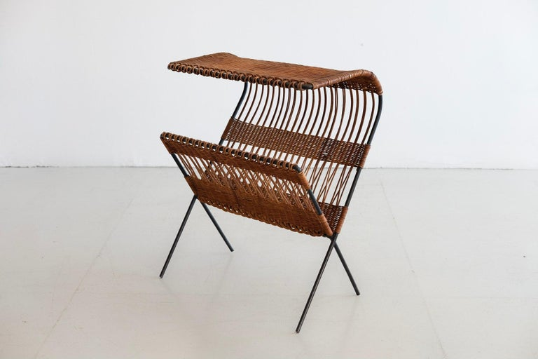 Italian Wicker and Iron Table / Magazine Rack For Sale 3