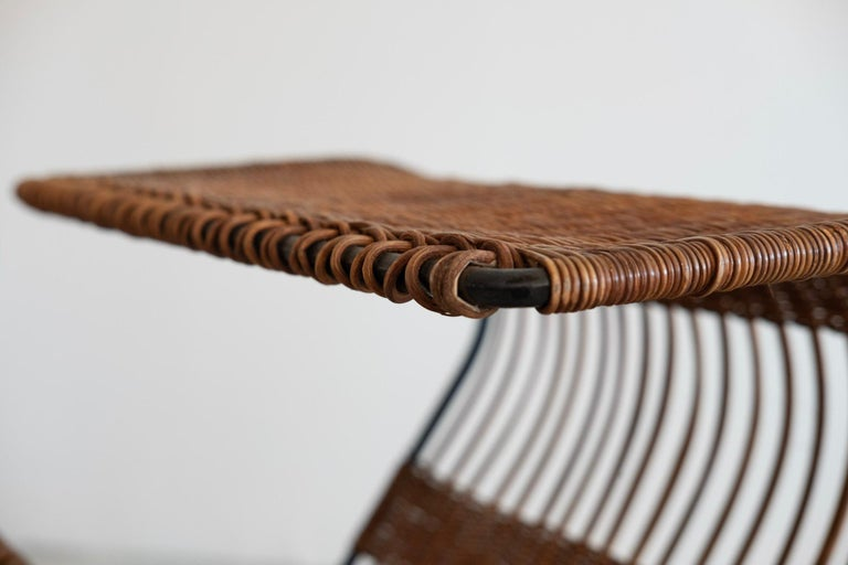 Italian Wicker and Iron Table / Magazine Rack For Sale 5