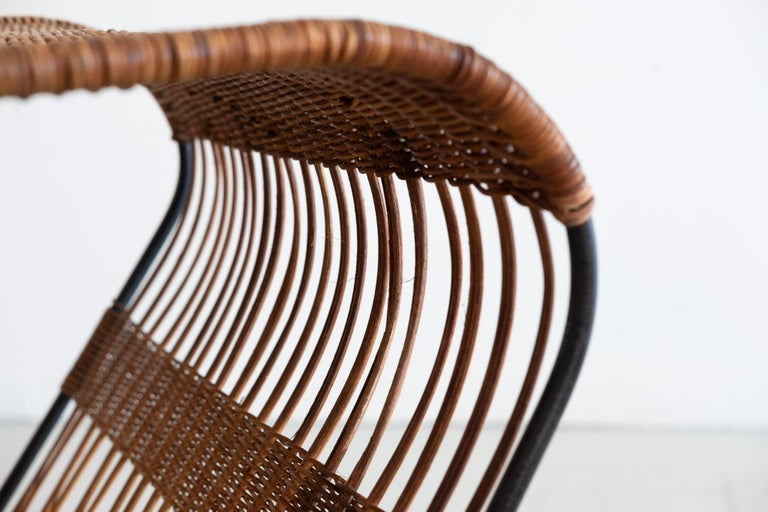 Italian Wicker and Iron Table / Magazine Rack For Sale 6