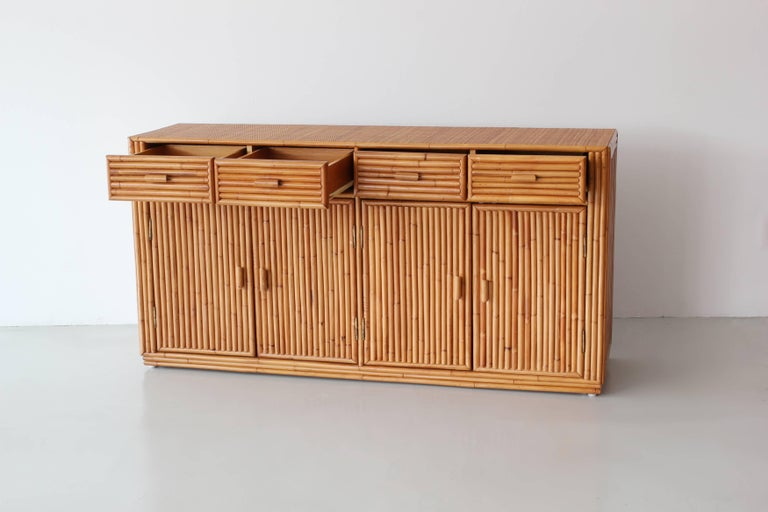 American Rattan and Caned Cabinet For Sale