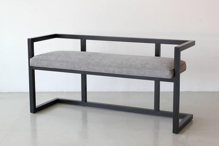 Floating Walnut Bench by Orange In Excellent Condition For Sale In Los Angeles, CA