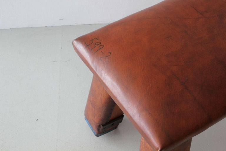 French Leather Gym Bench For Sale 1