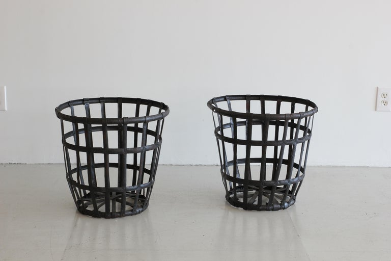Industrial Iron French Baskets In Good Condition For Sale In Los Angeles, CA