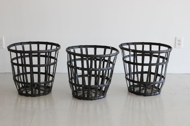 20th Century Industrial Iron French Baskets For Sale