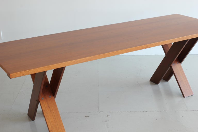 20th Century Marco Zanuso Walnut Dining Table for Poggi For Sale