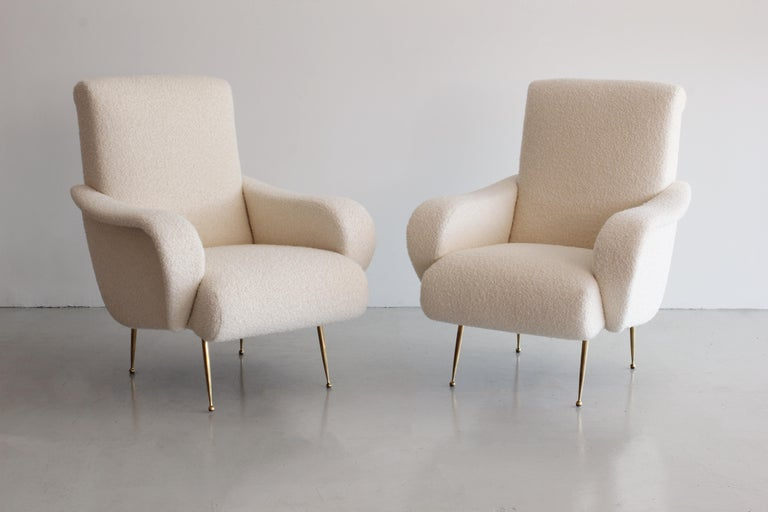 Pair of Zanuso Style Chairs in Wool Bouclé For Sale