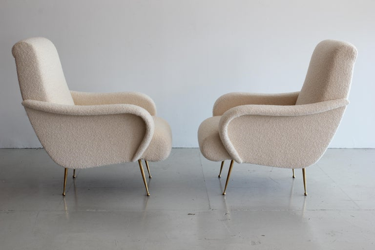 American Pair of Zanuso Style Chairs in Wool Bouclé For Sale