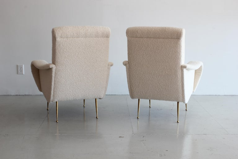 Pair of Zanuso Style Chairs in Wool Bouclé In Excellent Condition For Sale In Los Angeles, CA