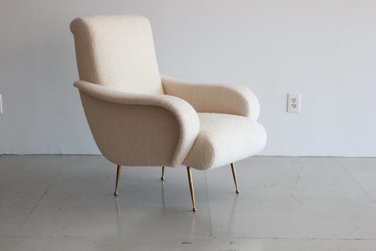 Contemporary Pair of Zanuso Style Chairs in Wool Bouclé For Sale