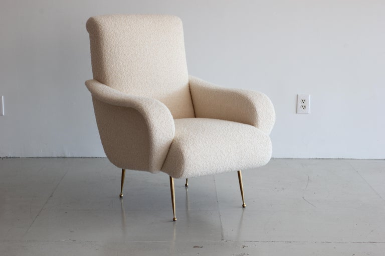 Pair of Zanuso Style Chairs in Wool Bouclé For Sale 1