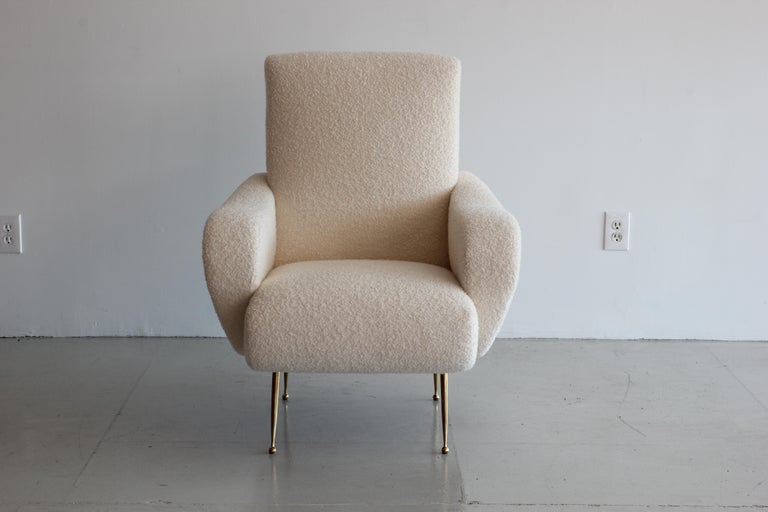 Pair of Zanuso Style Chairs in Wool Bouclé For Sale 2