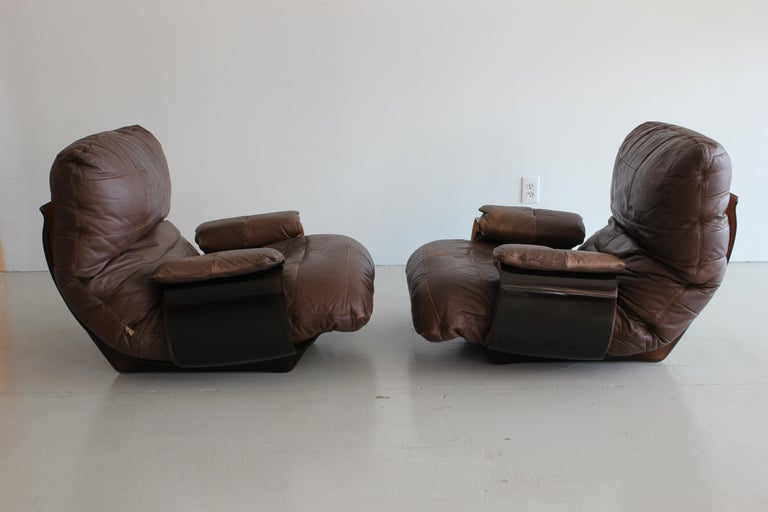 Mid-Century Modern Pair of Marsala Lounge Chairs by Michel Ducaroy for Ligne Roset For Sale