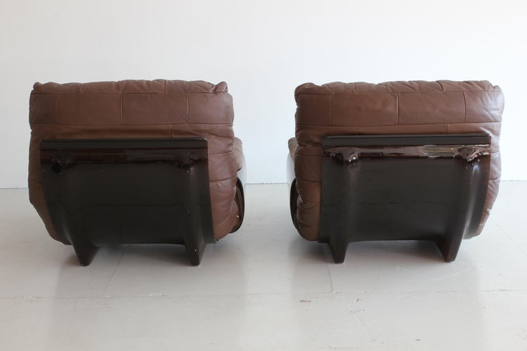 Pair of Marsala Lounge Chairs by Michel Ducaroy for Ligne Roset In Good Condition For Sale In Los Angeles, CA