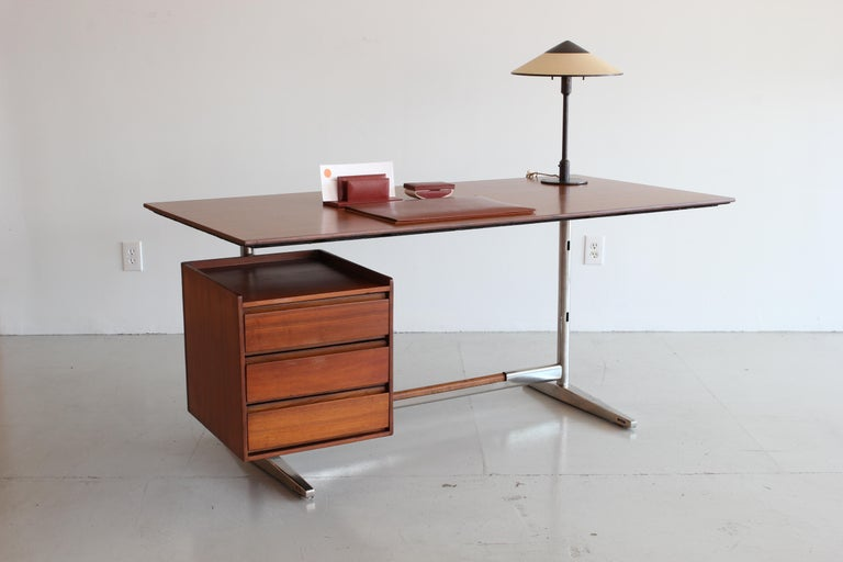 Italian Gio Ponti Rosewood and Chrome Desk For Sale