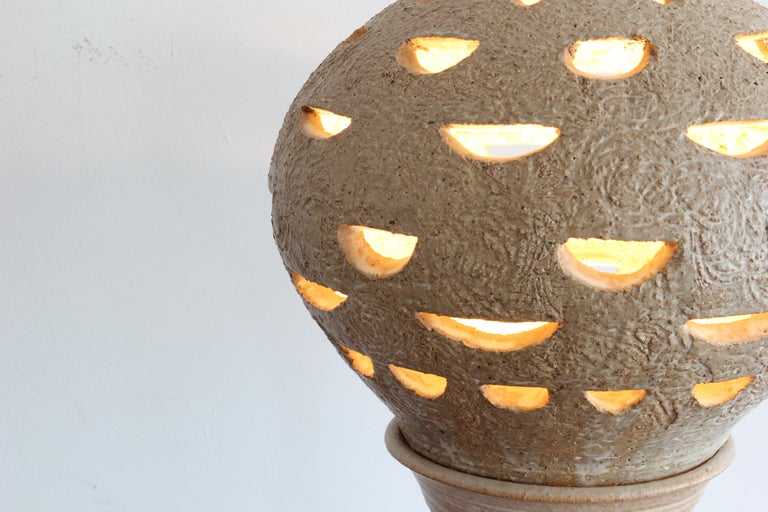 20th Century 1970s Brutalist Style Ceramic Lamp For Sale
