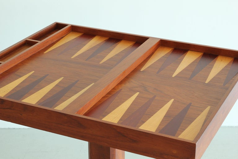 Artisan Backgammon / Checkerboard Game Table In Good Condition For Sale In Los Angeles, CA