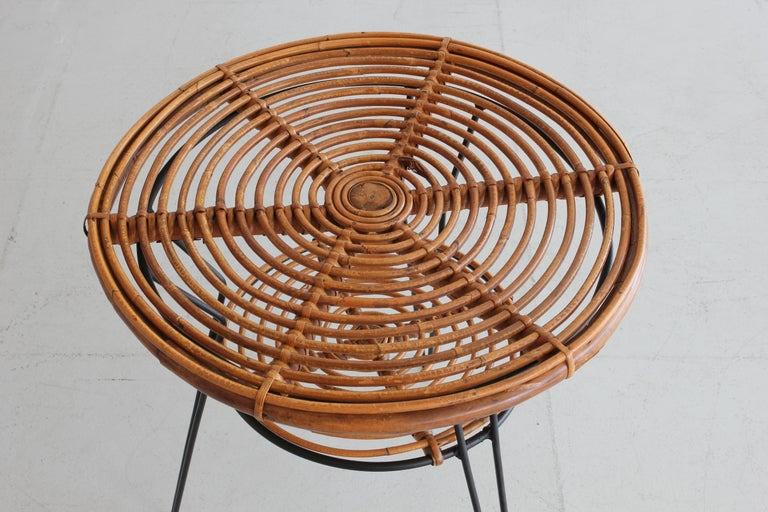Mid-Century Modern Rattan and Iron Side Table For Sale