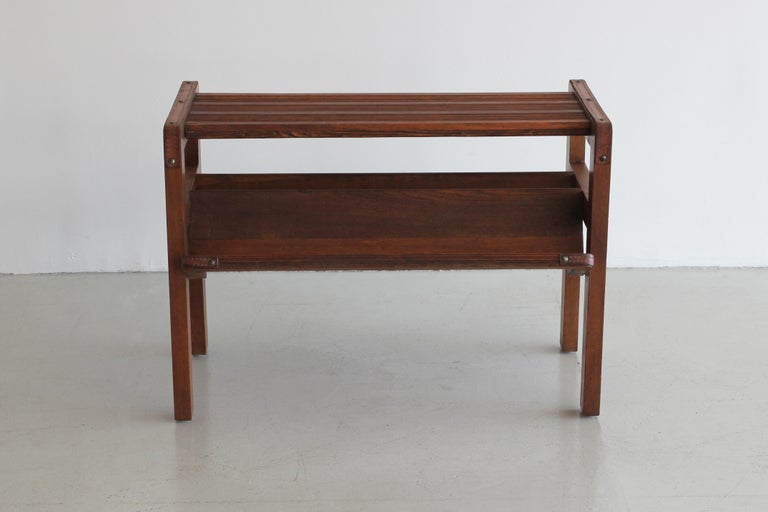 Wood and Leather Side Table by Jacques Adnet In Good Condition For Sale In Los Angeles, CA