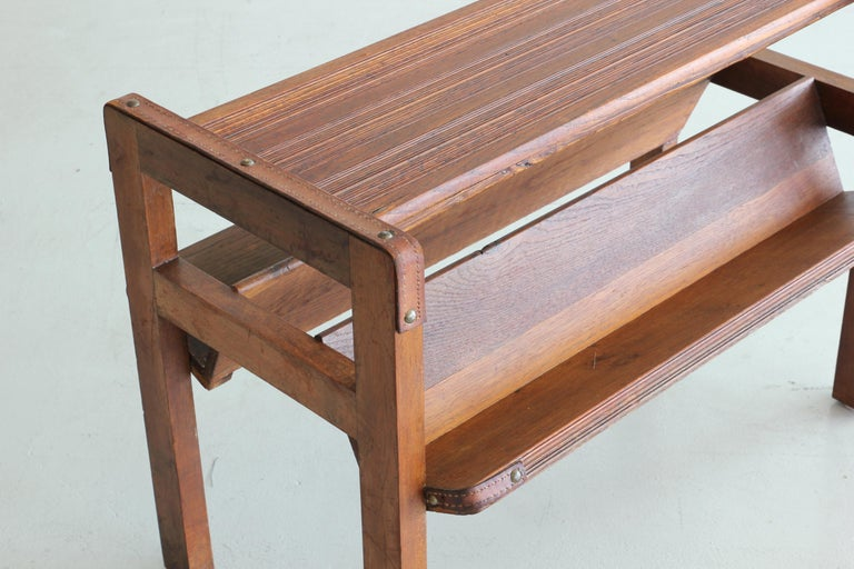 Wood and Leather Side Table by Jacques Adnet For Sale 1