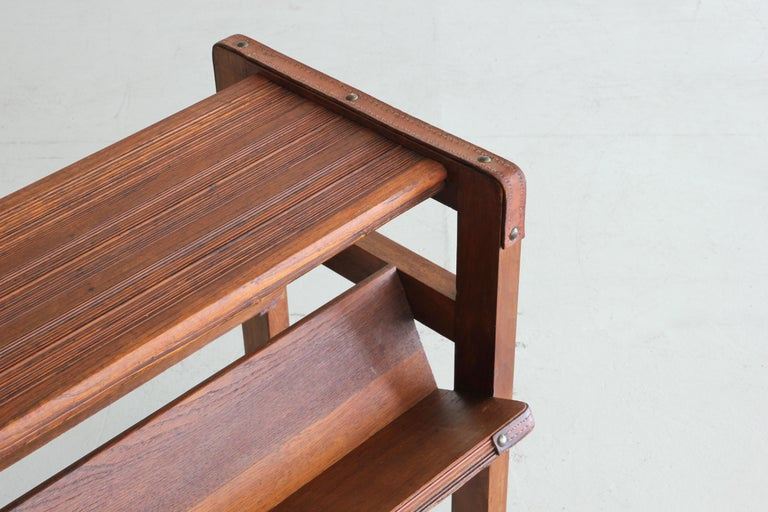 Wood and Leather Side Table by Jacques Adnet For Sale 2