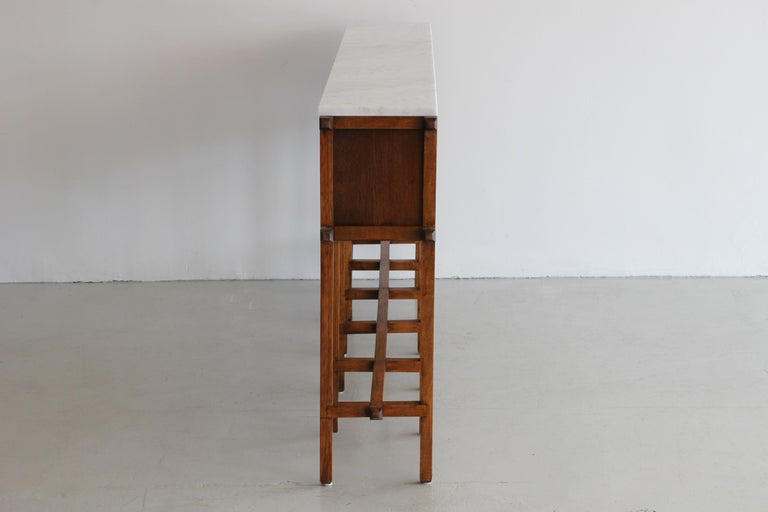 French Oak and Carrara Marble Console For Sale 1