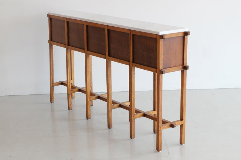 French Oak and Carrara Marble Console For Sale 2