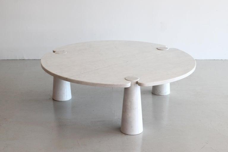 Vintage Italian three cylinder Carrara marble coffee table by Angelo Mangiarotti.