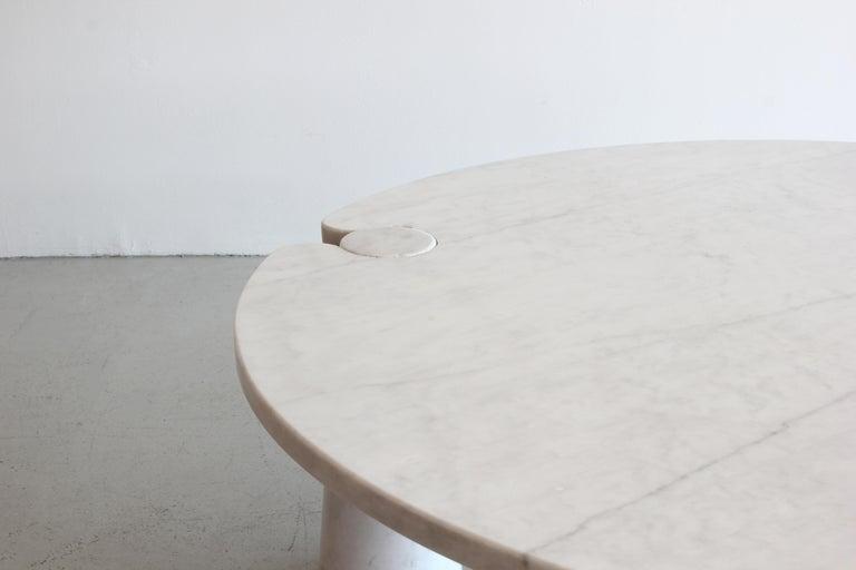 Italian Angelo Mangiarotti Round Marble Eros Coffee Table For Sale