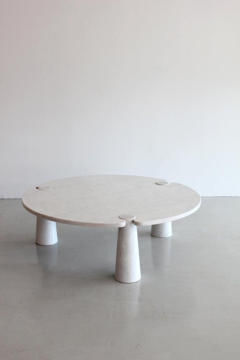 Carrara Marble Angelo Mangiarotti Round Marble Eros Coffee Table For Sale