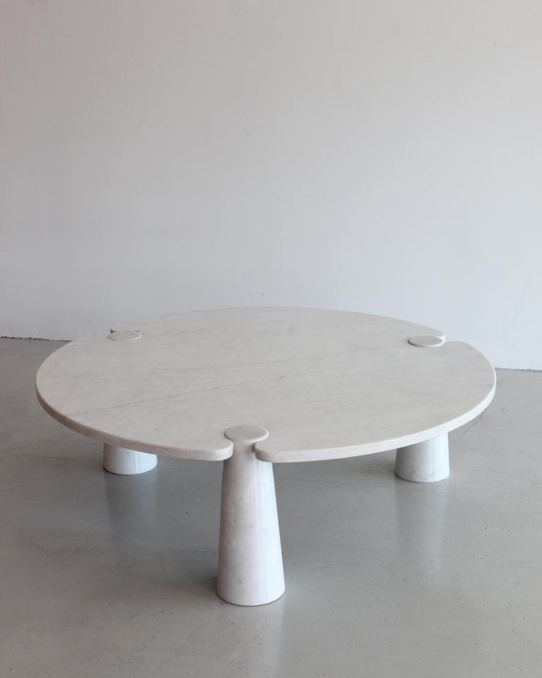 Angelo Mangiarotti Round Marble Eros Coffee Table For Sale 1