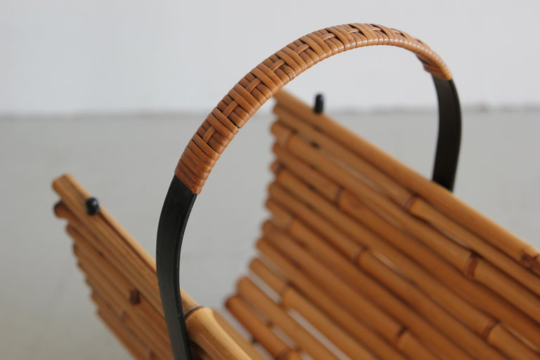 Mid-20th Century Bamboo Magazine Rack For Sale