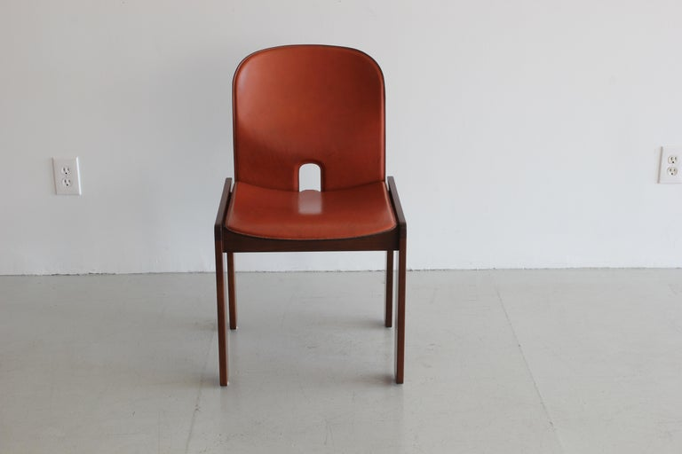 Leather Set of Ten Afra & Tobia Scarpa Dining Chairs For Sale