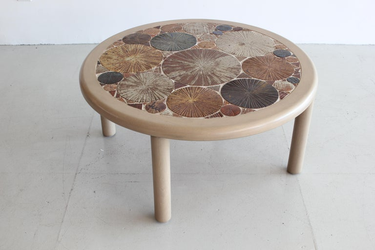 Gorgeous ceramic tile coffee table by Tue Poulsen for Haslev Danish Modern. 