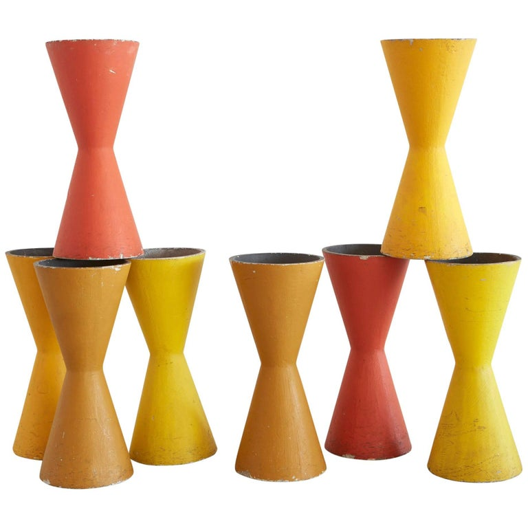 Rare Willy Guhl Colorful Pots For Sale