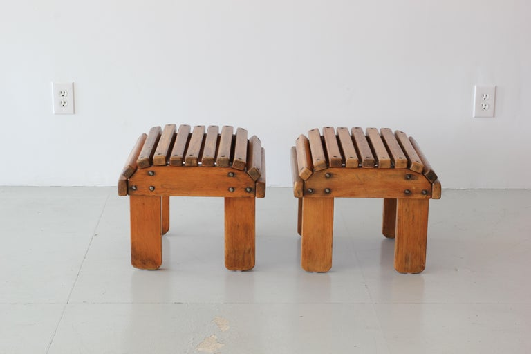 Primitive with wonderful patina  French railroad slatted wood stools.