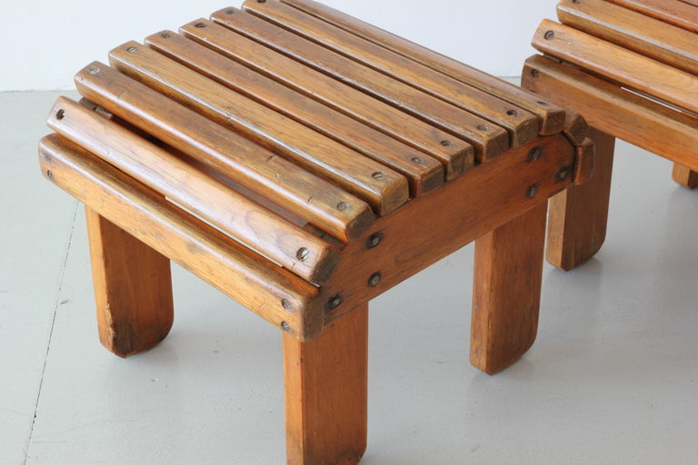 Oak French Railroad Stools For Sale