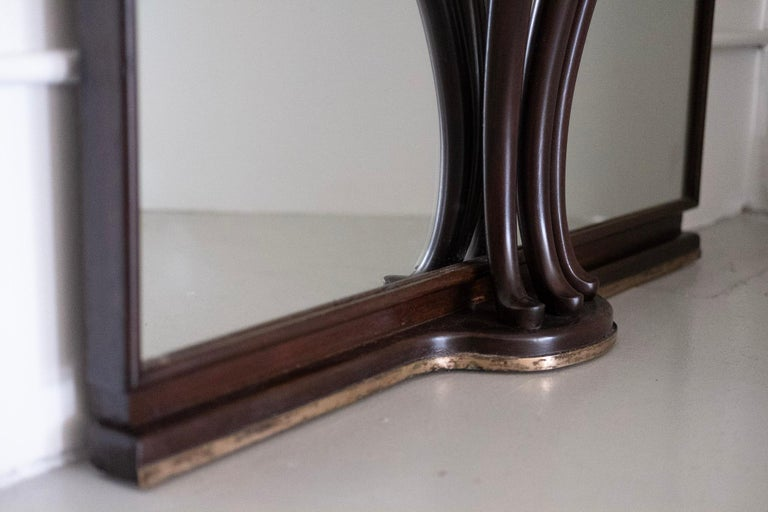 Mahogany Gigantic Entry Mirror Attributed to Fontana Arte For Sale